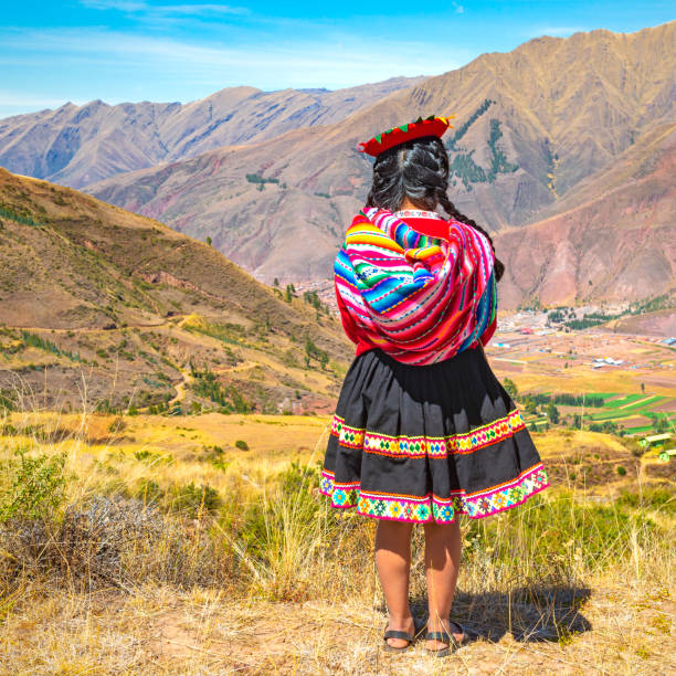 Quechua Indigenous Lady, Peru stock photo