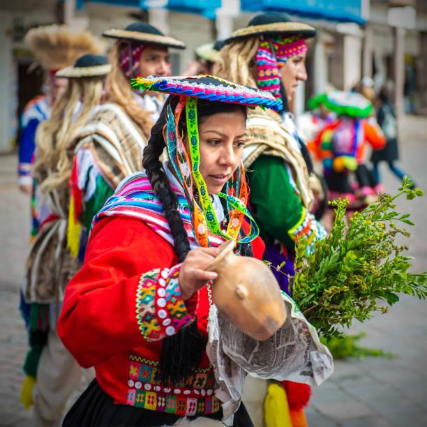 Quechua Indigenous Woman Portrait in Cusco stock photo