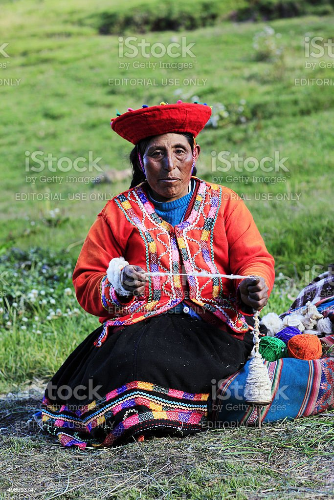 Quechua Woman Spinning Alpaca Fibre stock photo