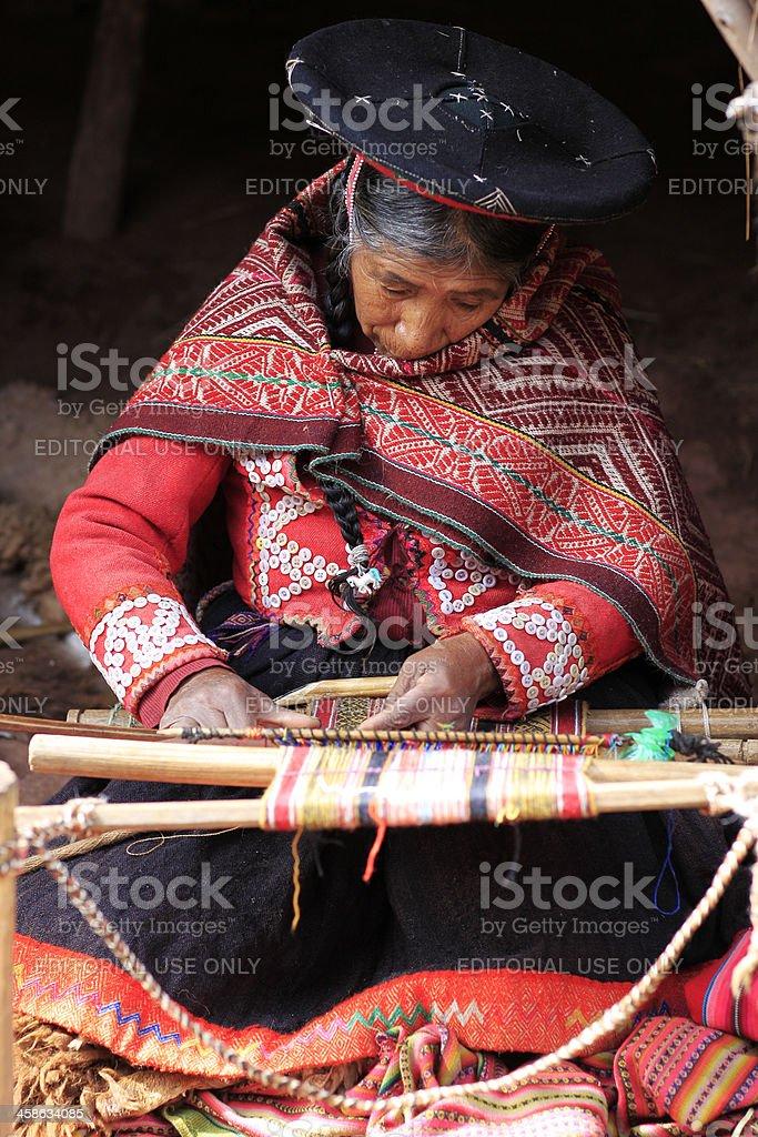 Quechua Woman Weaving royalty-free stock photo