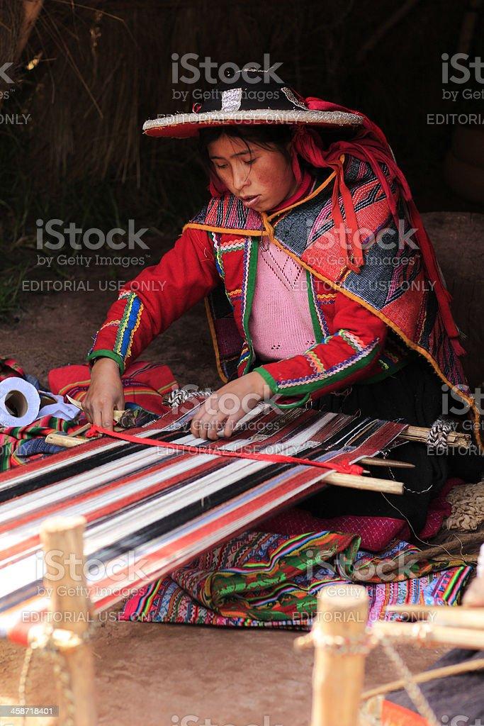 Quechua Woman Weaving stock photo