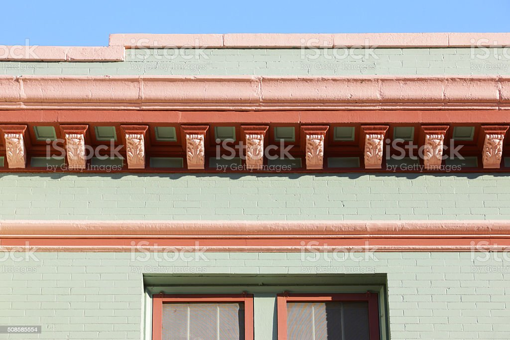 Queen Anne Architectural Facade Corbels stock photo