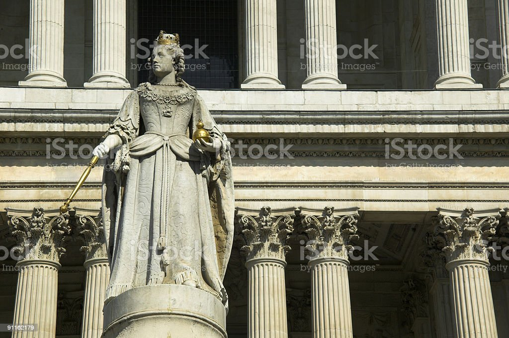 Queen Anne St.Pauls Cathedral royalty-free stock photo