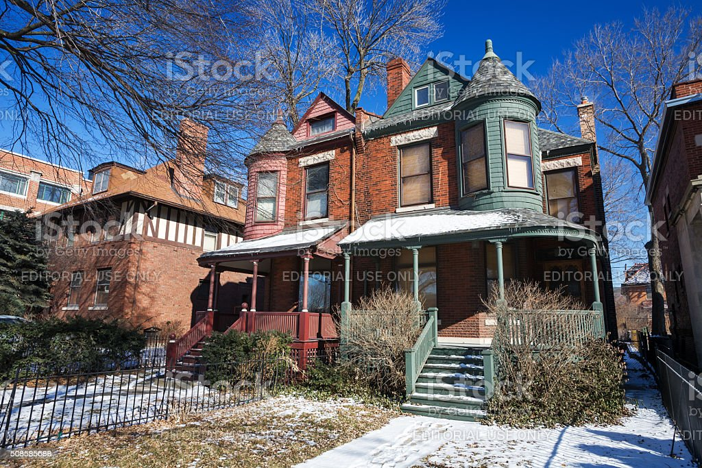 Queen Anne stye houses in Hyde Park, Chicago royalty-free stock photo