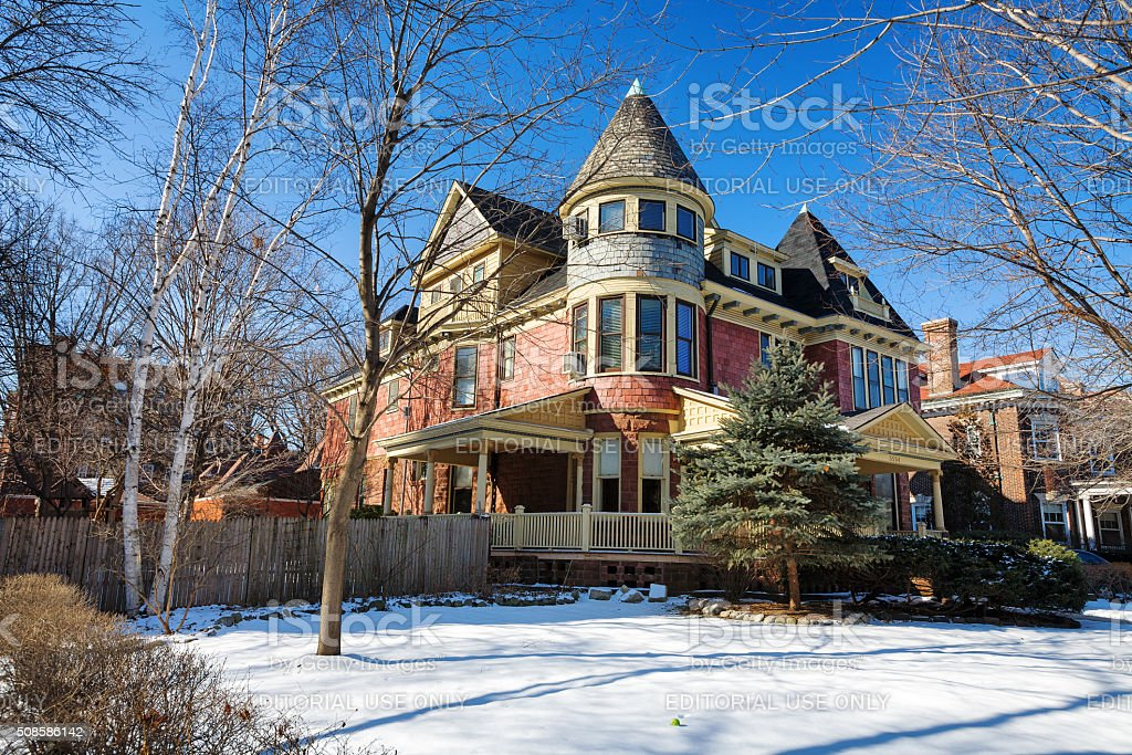 Queen Anne stye mansion in Hyde Park, Chicago royalty-free stock photo