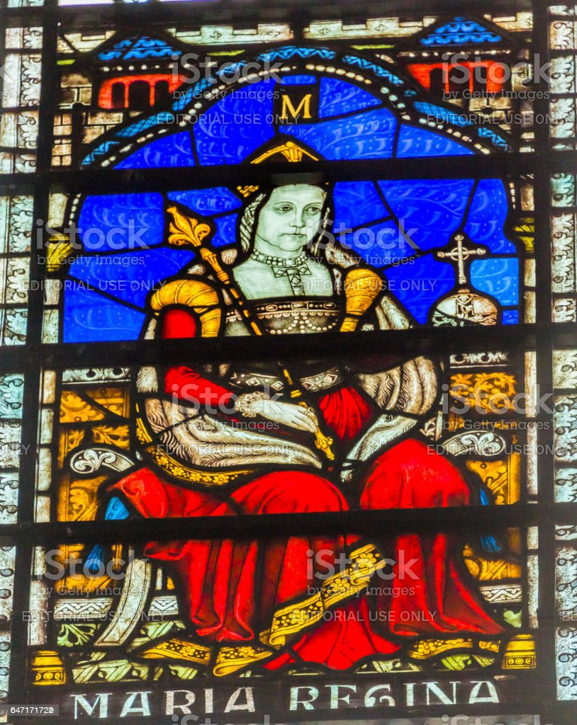 Queen Bloody Mary Stained Glass Chapter House Westminster Abbey London England stock photo