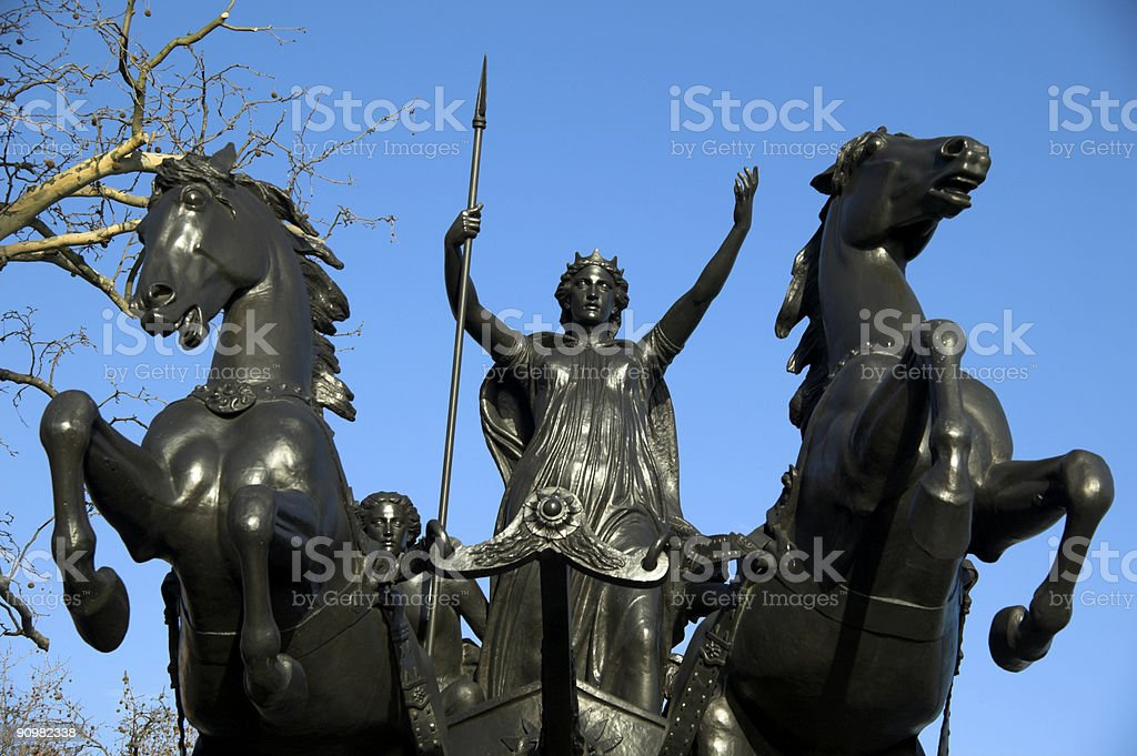 Queen Boudica (Boudicea) statue stock photo