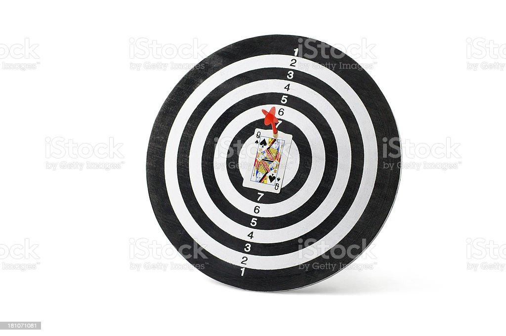 Queen Card on Dartboard royalty-free stock photo