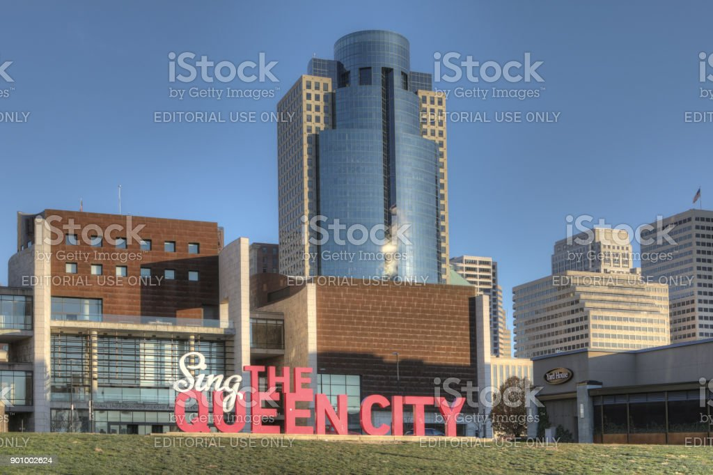 Queen City sign in Cincinnati. Called the Queen City after a Henry Wadsworth Longfellow poem calling it Queen of the West. stock photo