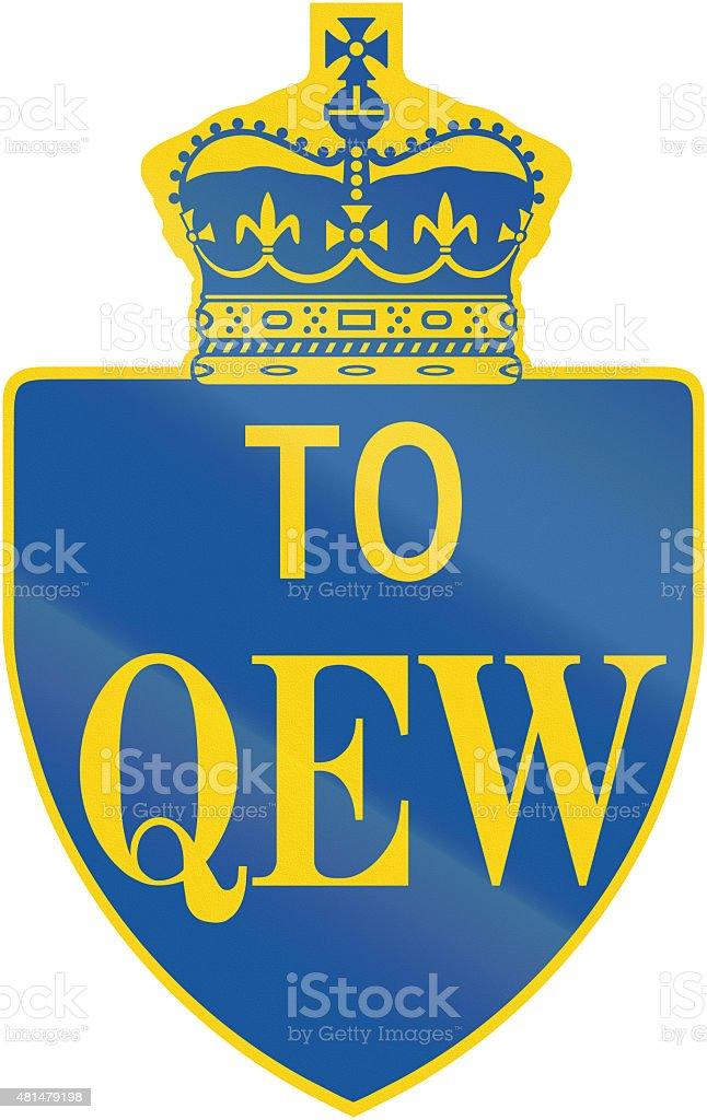 Queen Elisabeth Way Direction Shield In Ontario stock photo