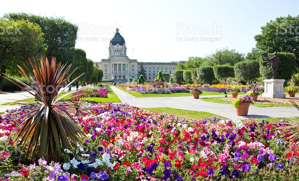Queen Elizabeth II Gardens at Saskatchewan Legislative Building stock photo