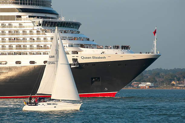 Queen Elizabeth maiden voyage stock photo