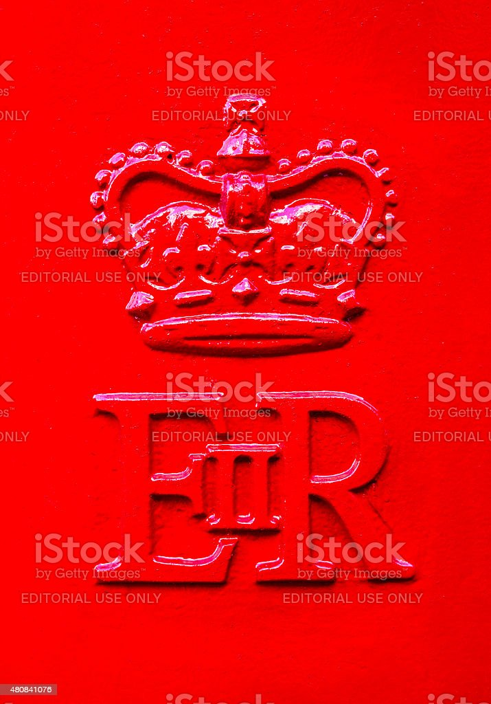 Queen Elizabeth Royal Crest on a UK Post Box stock photo