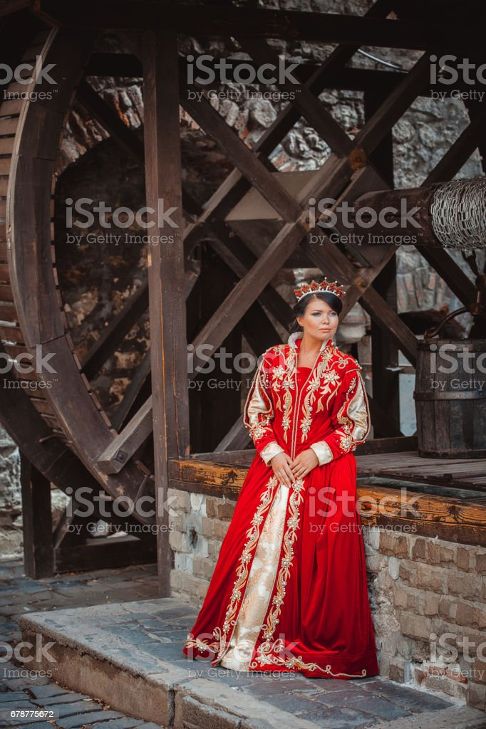 Queen in a medieval castle royalty-free stock photo