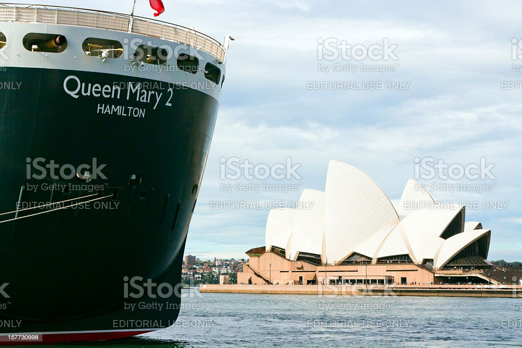 Queen Mary 2 in Sydney royalty-free stock photo