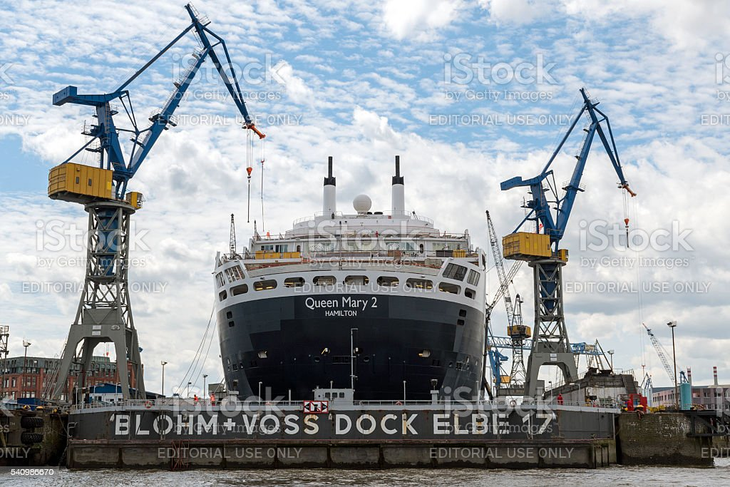 RMS Queen Mary 2, ocean liner in the shipyard, Hamburg stock photo
