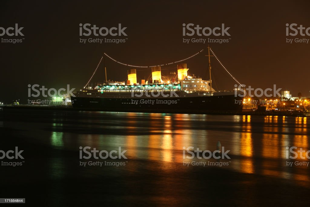 Queen Mary At Night stock photo