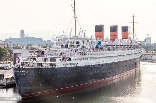 Long Beach, California, USA - May 30, 2015: Queen Mary docked in The Port of Long Beach