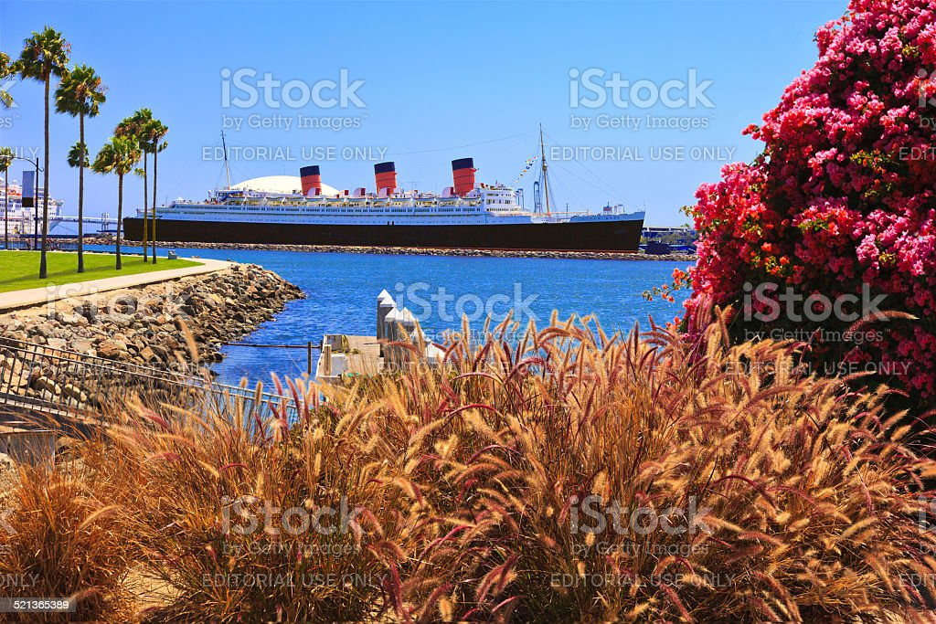 Queen Mary ocean liner at Long Beach, California stock photo