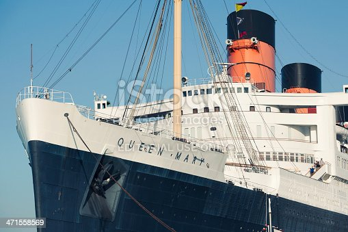 Long Beach, California, USA - May 3, 2013: RMS Queen Mary is a retired ocean liner that now serves as a museum and hotel. The ship is permanently moored at the port of Long Beach.