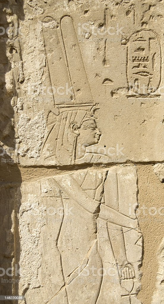 Queen Nefertari bas-relief royalty-free stock photo