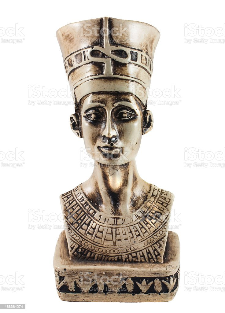 Queen Nefertiti isolated on white stock photo