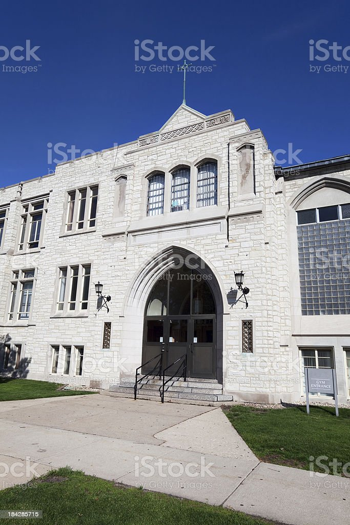 Queen of All Saints School entrance in Forest Glen,  Chicago royalty-free stock photo