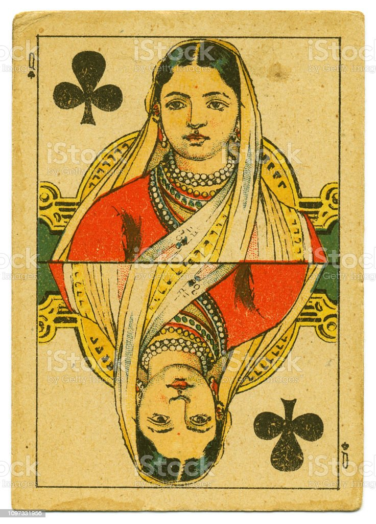 Queen of Clubs rare playing card from Hindu pack 19th century stock photo