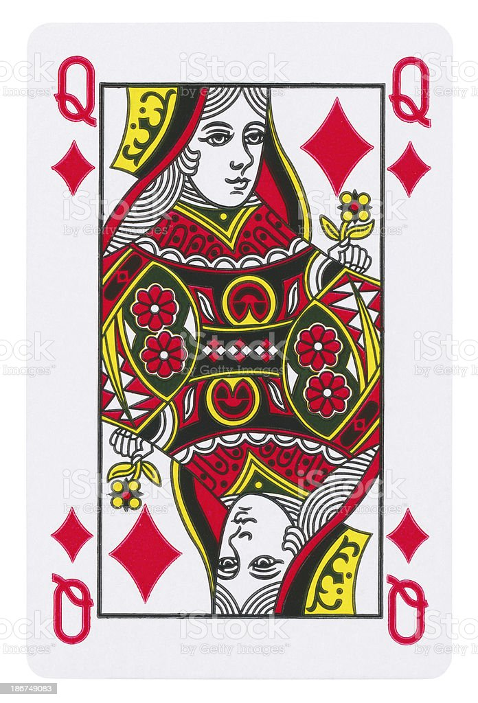 Queen Of Diamonds Isolated (clipping path included) stock photo