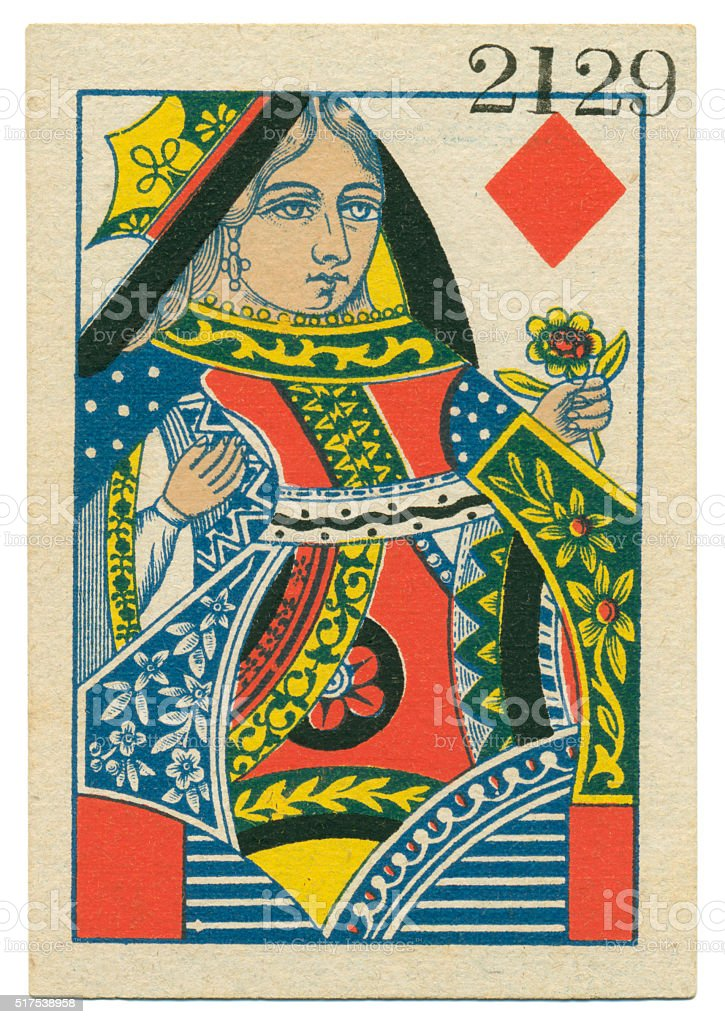 Queen of Diamonds playing card standing court Belgium 1860 stock photo