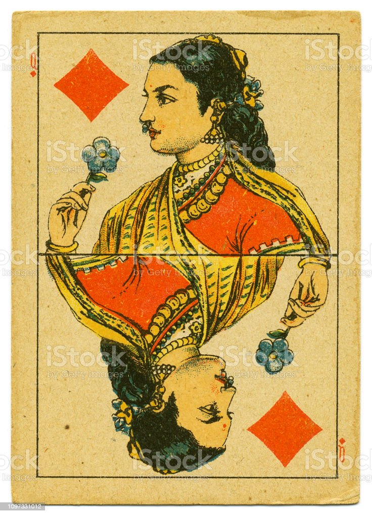 Queen of Diamonds rare playing card from Hindu pack 19th century stock photo