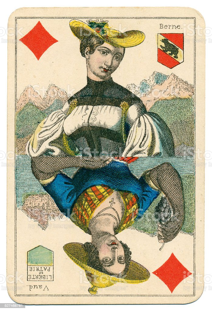 Queen of Diamonds Vues and Costumes Suisse 1880 stock photo