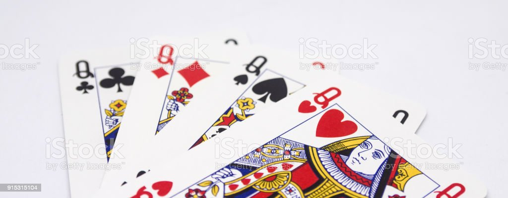 Queen of hearts, flowers, spades and diamonds stock photo