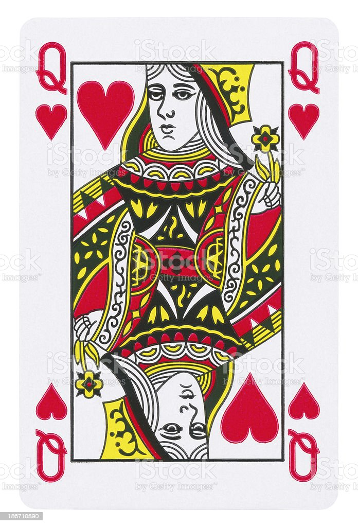 Queen Of Hearts Isolated (clipping path included) stock photo