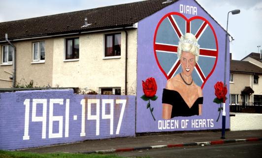 Belfast, Norther Ireland, UK - June 20th 2000: Tribute to Diana,  Princess of Wales (Lady Di), in a mural of the loyalist area of Ulster, painted over a heart-shaped Union Jack and flanked by two red roses, and the years of birthday and death. No Longer exists.