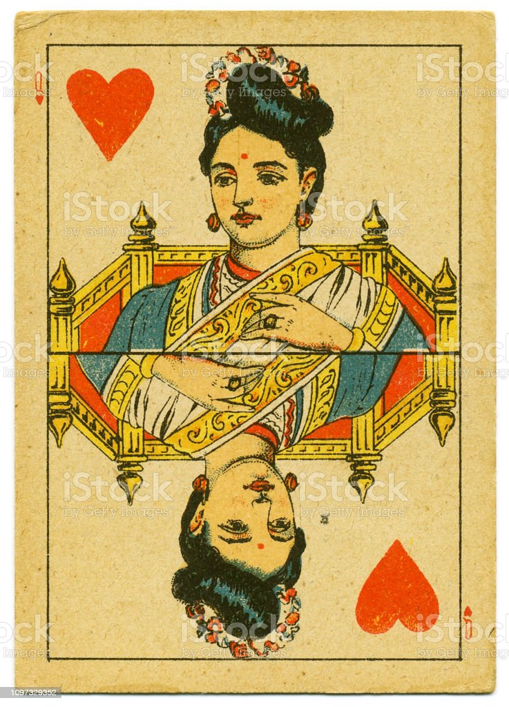 Queen of Hearts rare playing card from Hindu pack 19th century stock photo