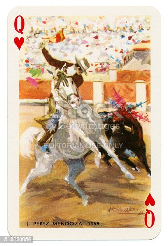 Queen of Hearts Spanish playing card from the Baraja Taurina manufactured by Heraclio Fournier of Vitoria (near Bilbao) in Spain in 1965, glorifying Spanish bullfighters. The artist is Antonio Casero. The Queen of Hearts features J. Perez Mendoza, a bullfighter of 1958. These cards are in new condition, with an accompanying leaflet. The four of clubs bears the legend 'Timbre sobre naipes', which translates to 'Stamp duty on cards'. Each card bears the name of the illustrated bullfighter along with an associated date.