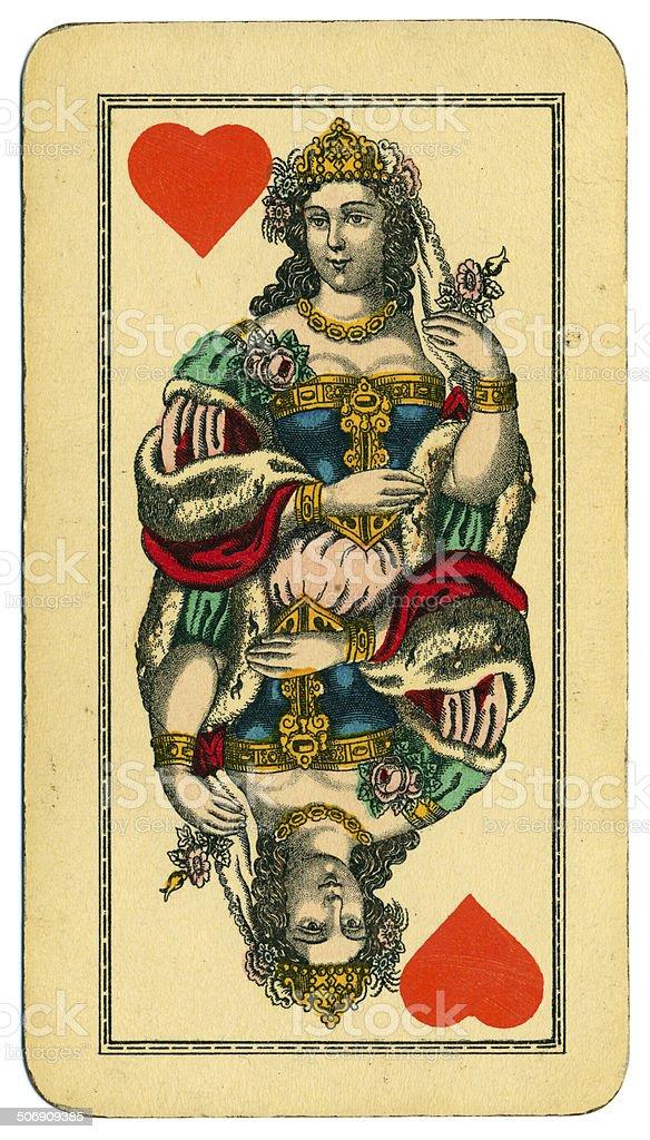 Queen of Hearts Tarot Austrian Taroch 1900 stock photo