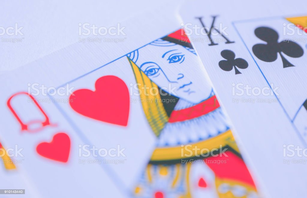 Queen of red hearts macro, fortune-telling cards. stock photo