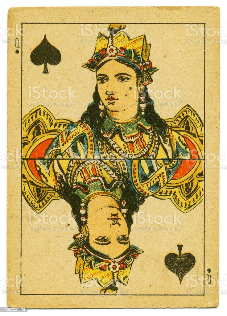 Queen of Spades rare playing card from Hindu pack 19th century stock photo