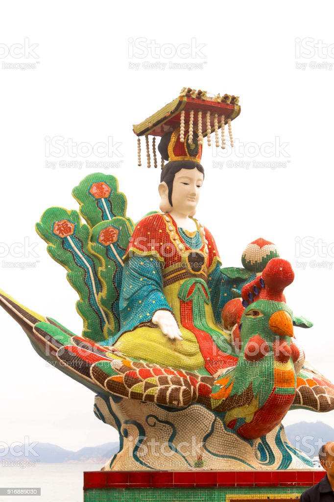 Queen of the Sea Statue, Tin Hau Temple, Repulse Bay, Hong Kong stock photo