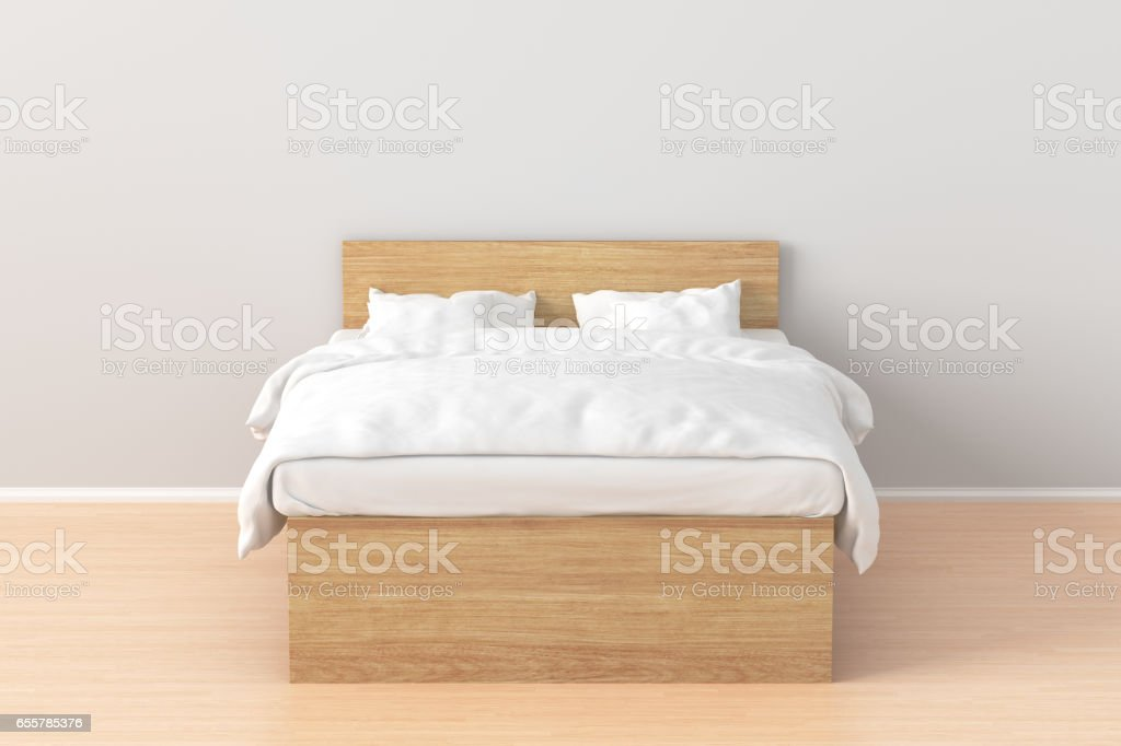 Queen size double bed stock photo