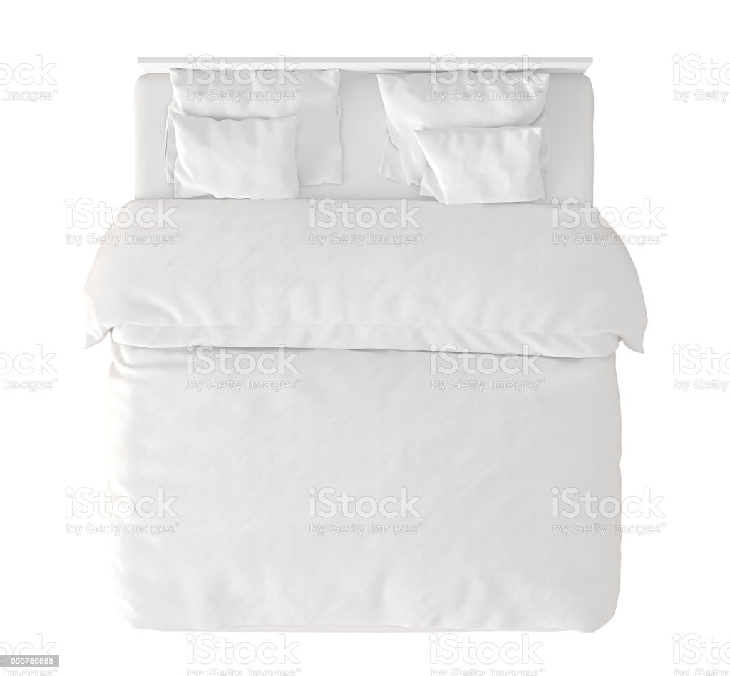 queen size double bed stock photo top view e40 top