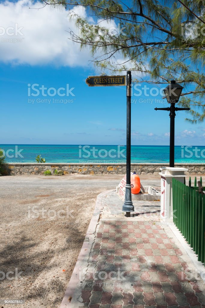 Queen Street in Cockburn Town, Grand Turk Island stock photo