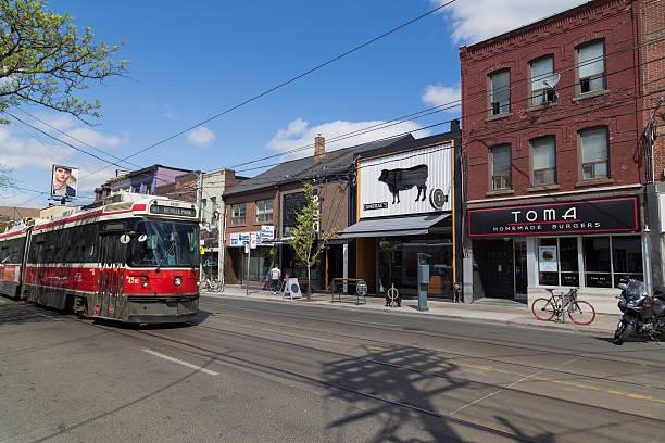 queen street toronto - toronto streetcar stock photos and pictures