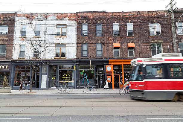 queen street west toronto - toronto streetcar stock photos and pictures