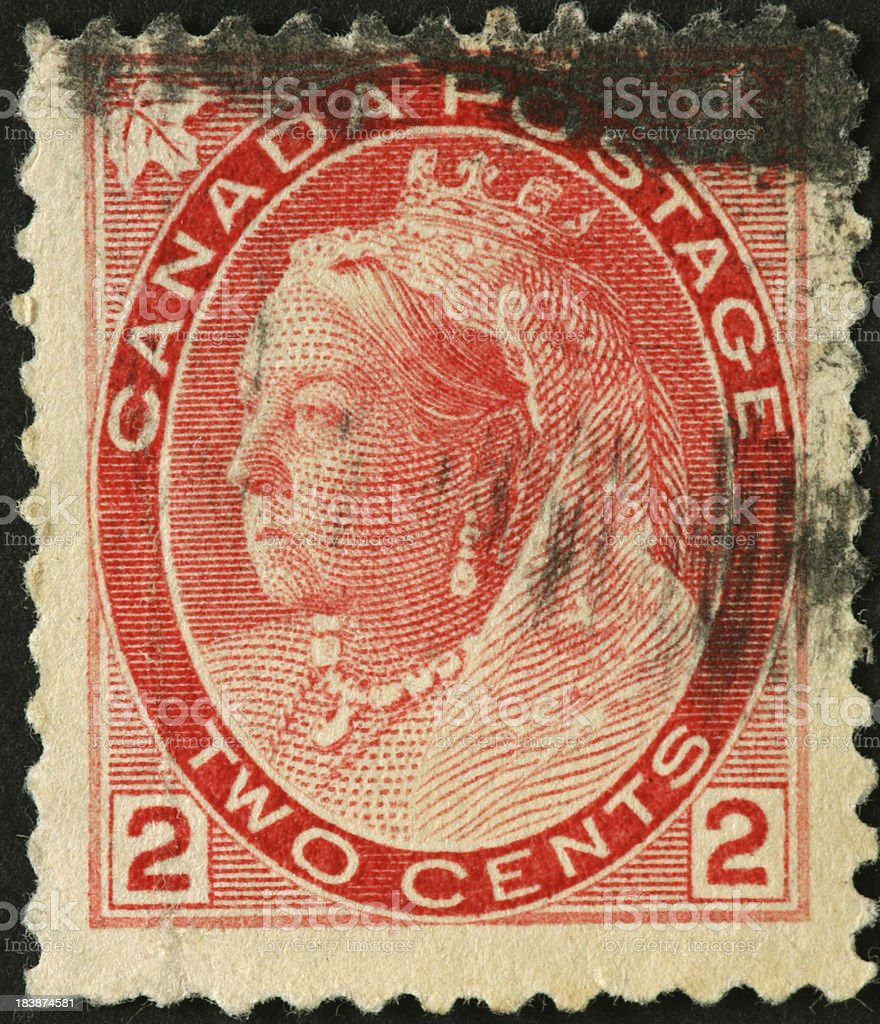 Queen Victoria on an old Canadian postage stamp stock photo