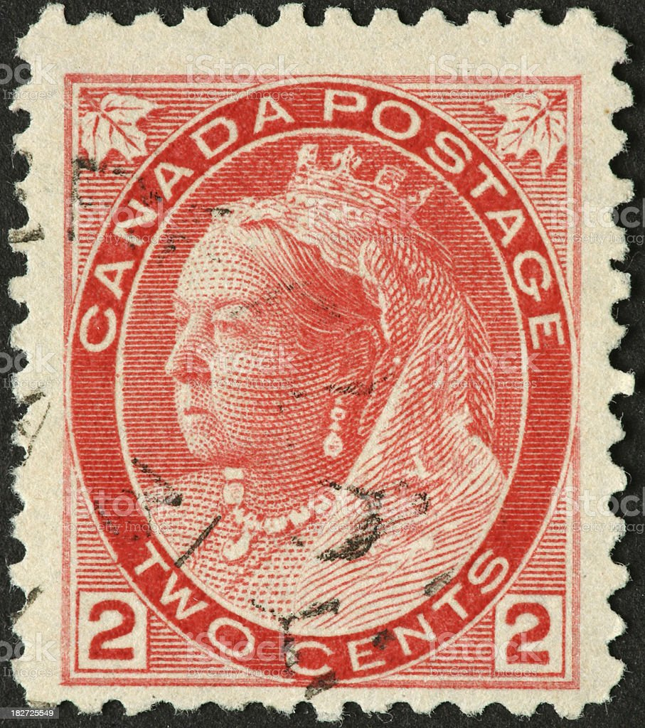 Queen Victoria on an old Canadian stamp stock photo