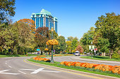 Stock photograph of Queen Victoria Park and Niagara Parkway in Niagara Falls Ontario Canada on a sunny day.