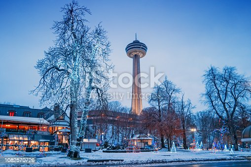 Stock photograph of Queen Victoria Park in Niagara Falls Ontario Canada decorated with Christmas lights during winter.